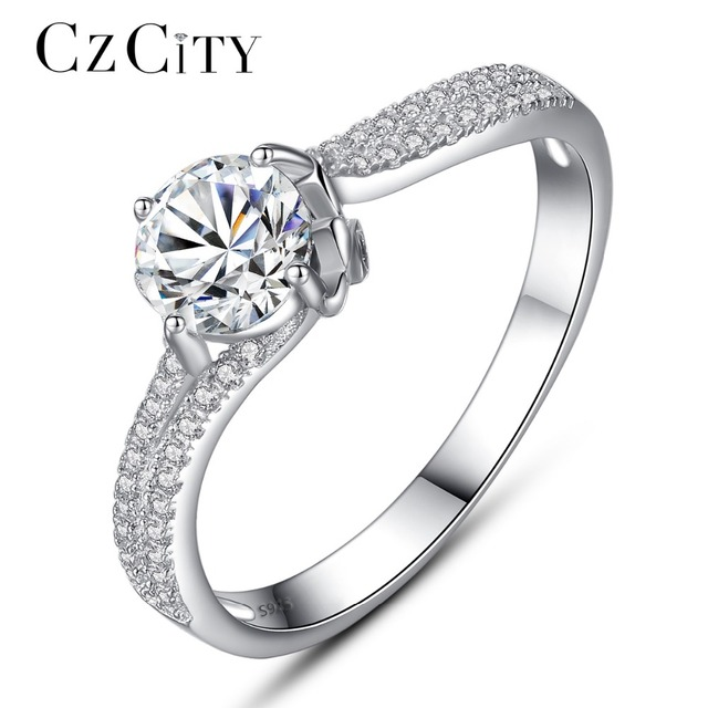 CZCITY Wedding Rings for Women Tiny CZ Paved with 1 Carat Cubic Zircon 925 Sterl