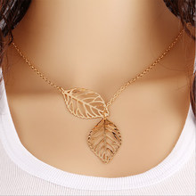 Double Leaves Pendant Necklace Gold Color Silver Clavicle Chain Hollow Leaf Charm Statement Choker Women Jewelry Accessories(China)