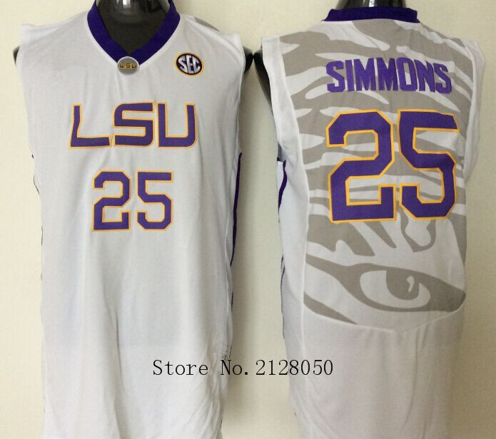 dfb9225bc5e ... Top Quality 100% Stitched LSU Tigers College Basketball Jersey 25 Ben  Simmons White Yellow Purple ...