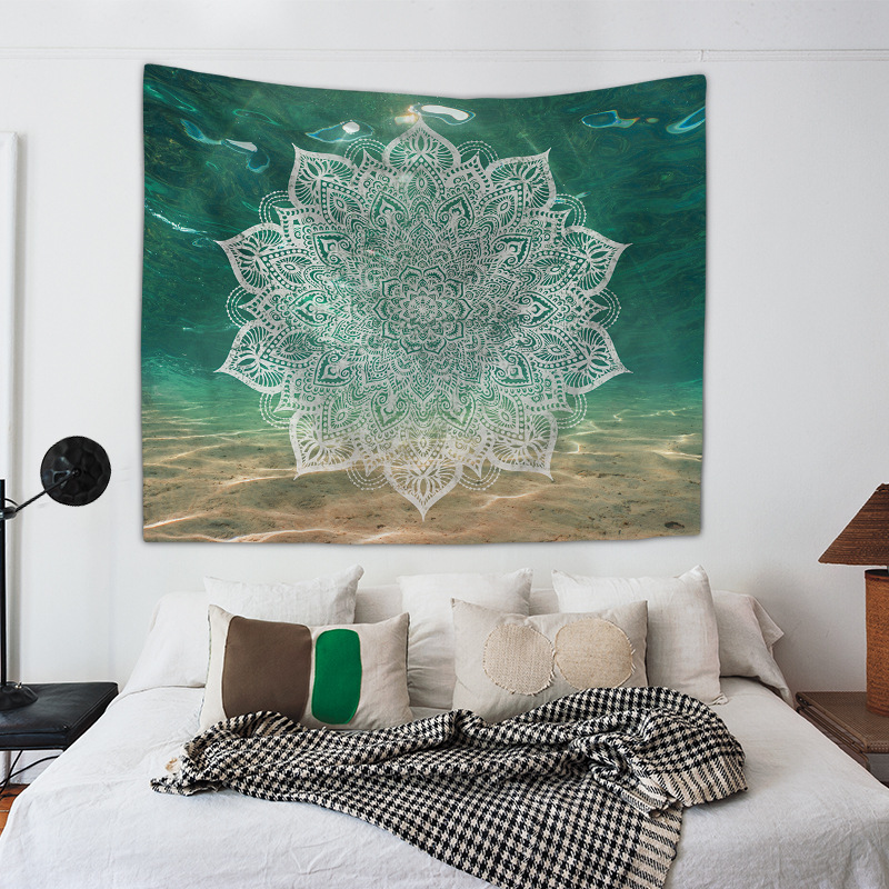 Image 3 - Mandala Hand of Fatima Printing Wall Tapestry Hanging Beach Towel Boho Dorm Decor Home Witchcraft Celestial Sun Moon Blanket-in Tapestry from Home & Garden