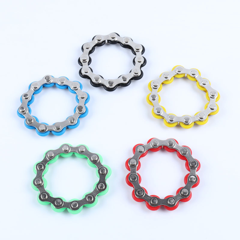 8/12 Knots New Key Ring Chain Fidget Toy Pressure Relief Stress Chain Stainless Steel Bicycle Chain Buckle Key Ring Finger Toy