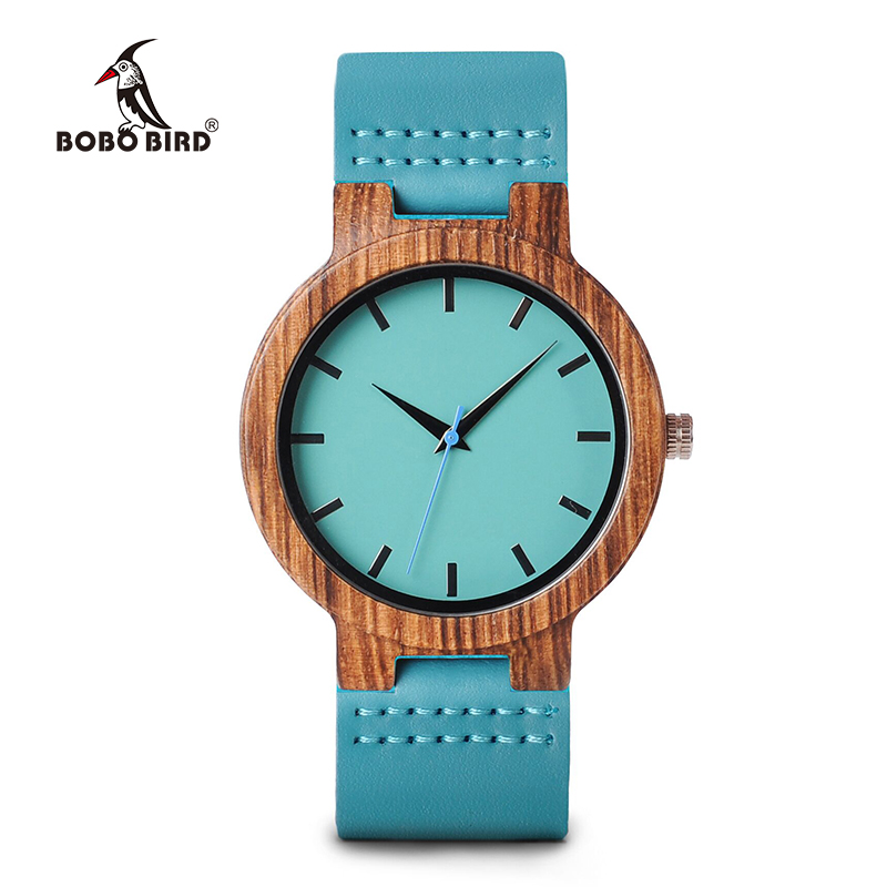 BOBO BIRD Wood Watch Mens Blue Leather Band Antique With Blue Anlaogue Display Bamboo Wristwatch relogio masculino J-C28 new 100% handmade head deer elk dial design mens bamboo wood quartz watch with real leather strap for gift relogio masculino