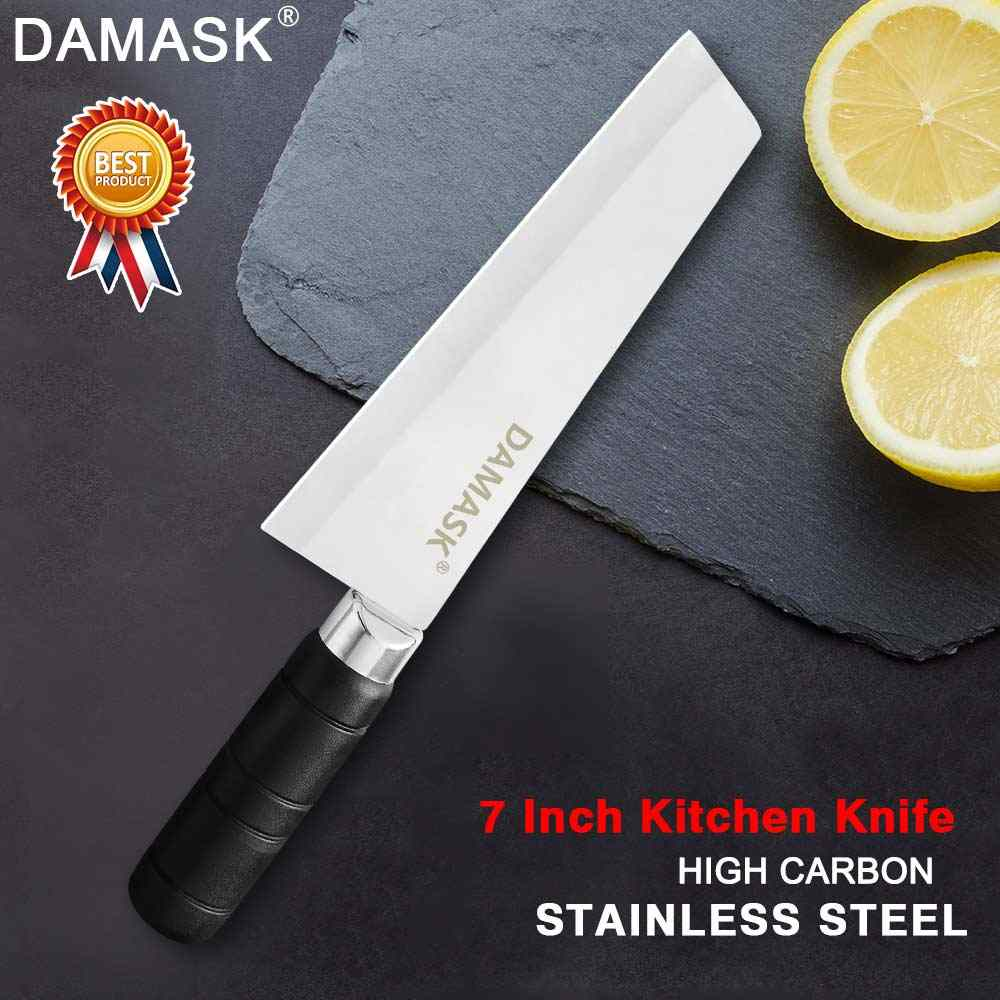 Damask Kitchen Knife Chef Knives 7 inch Japanese Stainless Steel Vegetable Nakiri Santoku Chef Cutlery High Quality Meat Cleaver