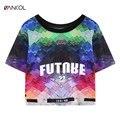 22 Projeto do Verão Cop Top Camisetas Camisas Unicórnio Céu Universo Feminino Floral t-shirt Das Mulheres 3D kawaii harajuku Impresso Top Tees