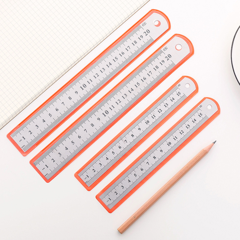 15cm / 20cm Sewing Ruler Stainless Steel Metal Straight Ruler Precision Double Sided Measuring Tool School Office Supplies