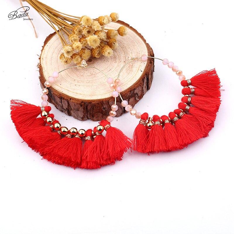 badu bohemio pendiente grande con cuentas de colores de la borla del aro pendientes para las