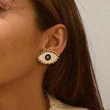 CANNER 2019 New Fashion Big Stud Earrings For Women Punk Style Evil Eyes Earings Trendy Party Jewelry Statement Boho