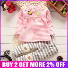 BibiCola 2018 spring Baby girls flower clothing sets toddler girls cardigan coat +pants 2 pcs sport suit kids tracksuit