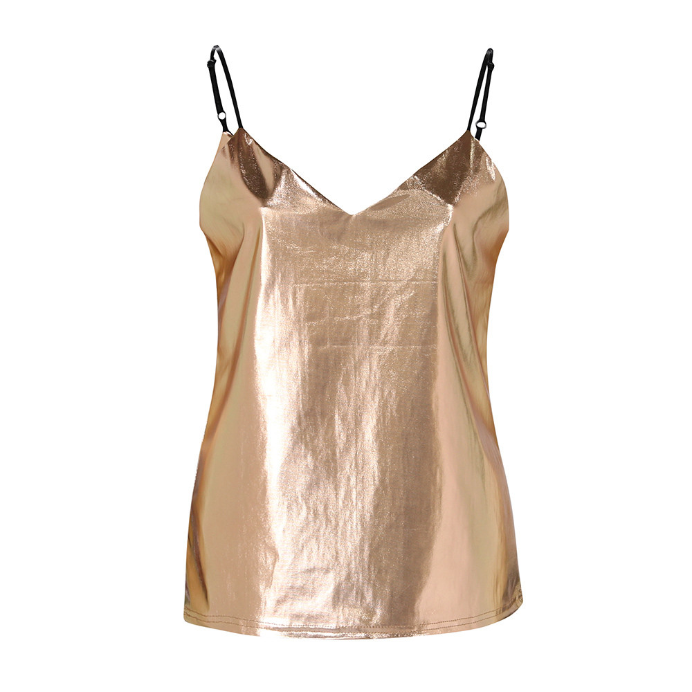 MUQGEW summer Womens Tanks Shiny Liquid Wet Look Sleeveless O-Neck Camisole For Club Blouse Gold Silver fashion arrival Tanks ...