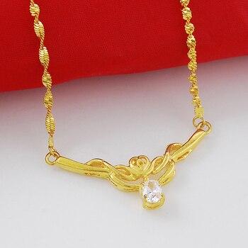 Elegantes collares de cadena única de oro tipo Flores Retro collar de oro 24K joyas de boda al por mayor para mujeres