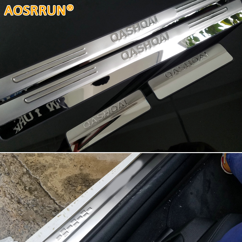 AOSRRUN stainless steel scuff plate door sill car accessories For Nissan Qashqai 2007 2008 2009 2010