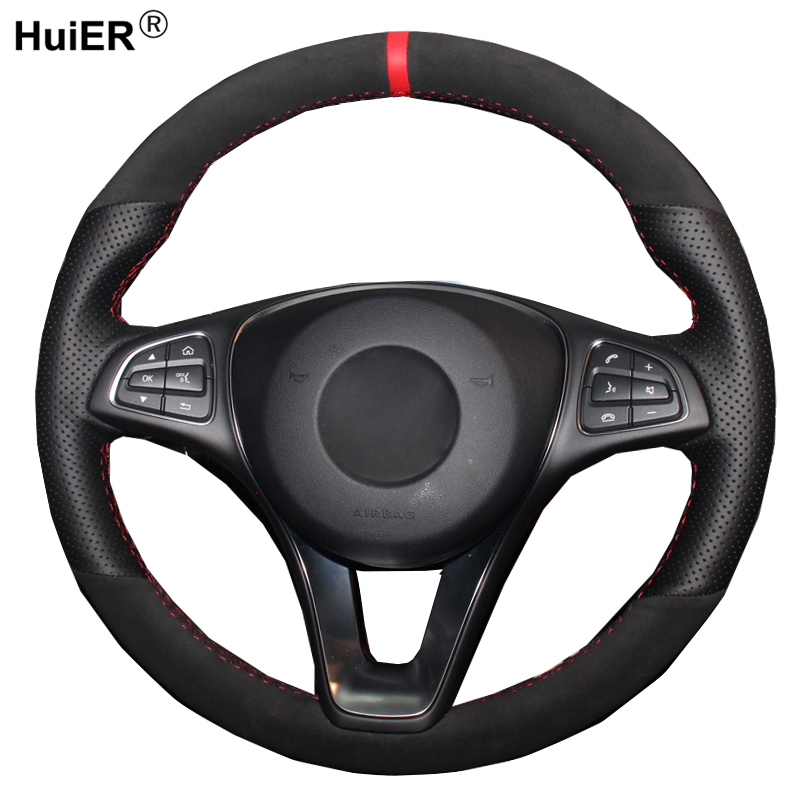 DIY Car Steering Wheel Cover Volant For Mercedes Benz C180 C200 C260 C300 B200 Suede Cow