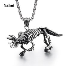 YaHui stainless steel vintage silver dinosaur men's power necklaces & pendants best friends pendant jewelry accessories  chains friends f12 stainless steel combination lock silver