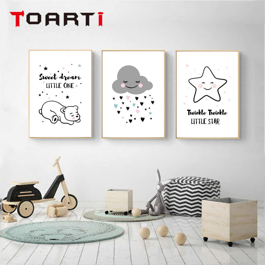 Sweet Dream Little One Poster&Print Modern Home Decor Modular Wall Picture For Kids Nursery Room Wall Art Chart Mural Home Goods