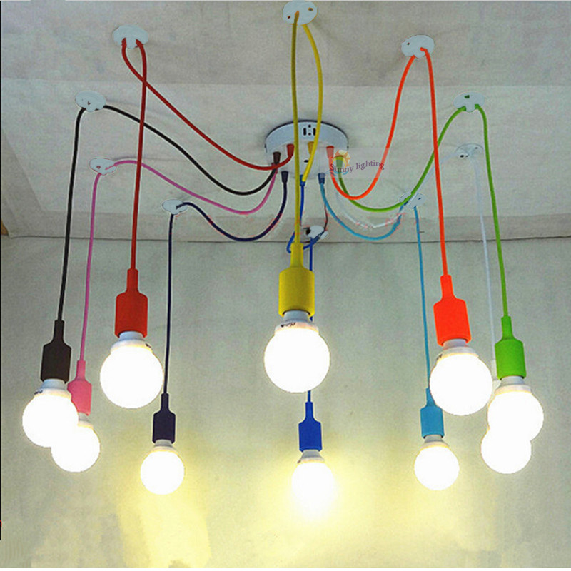 Retro Edison Lighting Silicone Lamp Chandelierfor restaurant bar Bedrooms Colorful multicolor sconce DIY E27 bulbs not includedRetro Edison Lighting Silicone Lamp Chandelierfor restaurant bar Bedrooms Colorful multicolor sconce DIY E27 bulbs not included