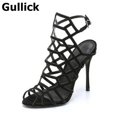 Gullick Summer Hot Sale Fashion Women Cut Outs High Heel Sandals Buckle Strap Peep Toe High Heels Stiletto Heel Cage ankle Boot lanyuxuan 2017 new hot sale sandals