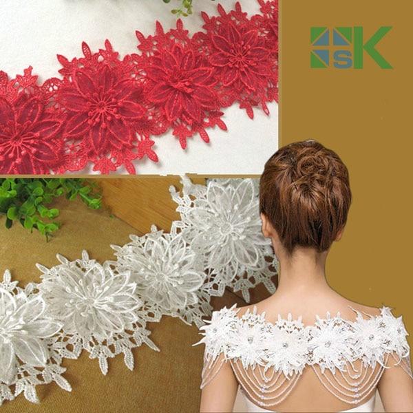 10vnt gėlių / partijos Prancūzijos nėrinių audinio vestuvių - Menai, amatai ir siuvimas - Nuotrauka 1