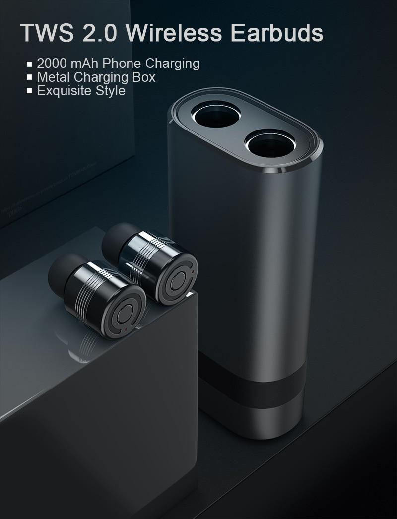 TOMKAS Wireless Headphones Tws Bluetooth Earphones True Stereo Earbuds Sport Headset with 2000mAh Power Bank for iPhone Xiaomi (2)