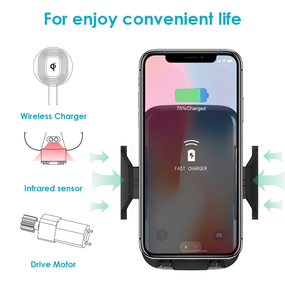 FDGAO Automatic Infrared QI Wireless Charger Air Vent Car Mount 10W Fast Charging Holder for iPhone 11 8 X XS XR Samsung S10 S9