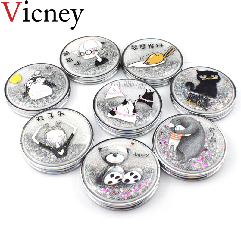 Vicney Personalized Cartoon Beauty Pocket Makeup Compact Mirror Makeup Mirror Sparkling Sand Mirror Party Gift Christmas Gift in Makeup Mirrors from Beauty Health