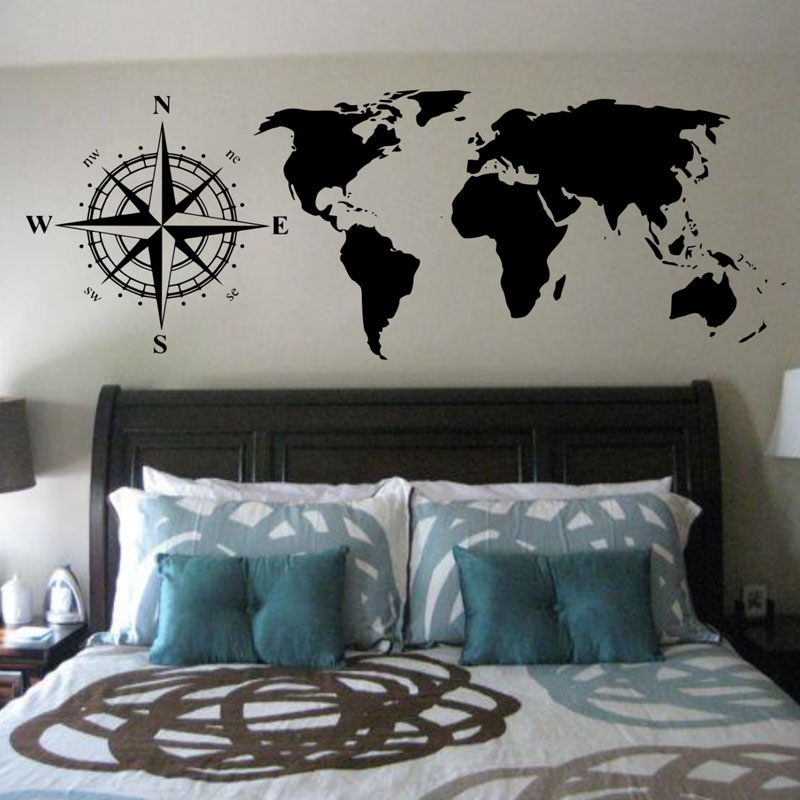Buckoo Map Hot Wall Stickers Compasses World Map Wall Decals Bedroom