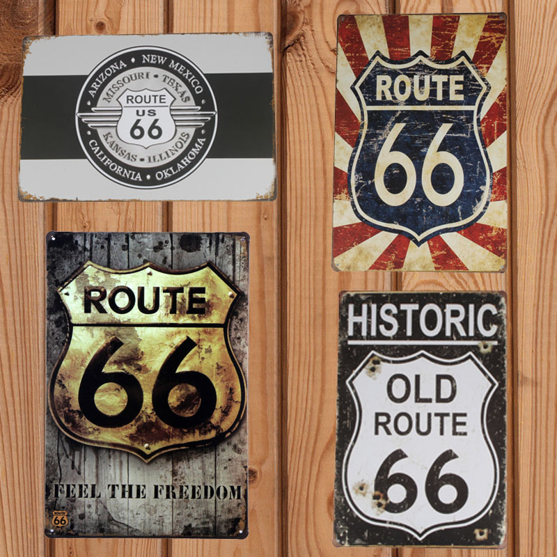 The Signs Of Route 66 20*30cm Pub Bar Club Cafe Restaurant Decoration Vintage Metal Tin Sign Art Poster Painting Craft