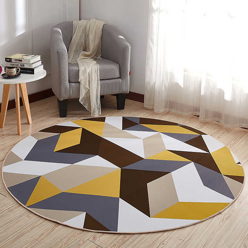EHOMEBUY 新カーペット黄色ブラウン幾何アンチスリップ敷物ラウンドカーペット床の装飾リビングルーム足パッド寝室のカーペットマット