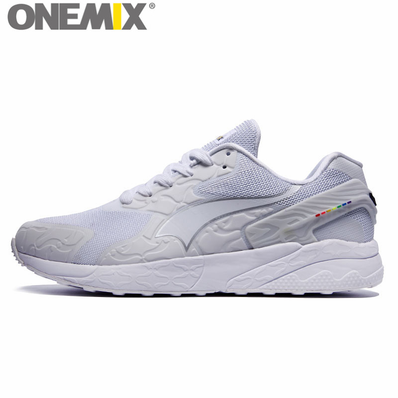 ФОТО onemix Popular Element Retro Running Shoes for Men White Run Shoes New Female Walking Sneakers Women Trainers Jogging 87 90