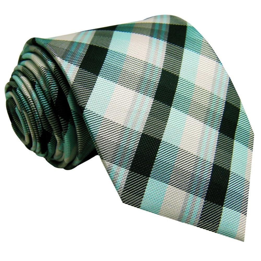 U8 Black Light Green Checkes Mens Ties Matching Hanky Silk Wedding Fashion Classic Brand Dress Mens Extra Long Size 63 Necktie