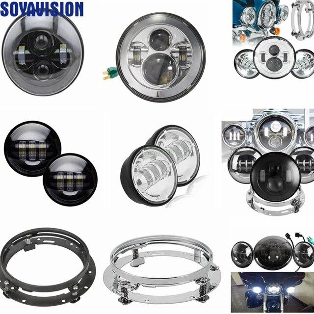 """7 """"светодиодная фара для мототранспорта круглый установочный кронштейн 7"""" светодиодный Hi/Lo головка луча свет + 4,5 """"Дополнительная противотуманная точечные лампы Chrome для Harley"""
