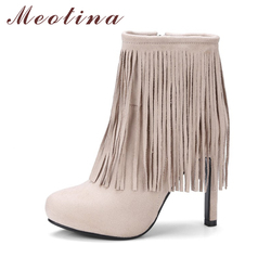Meotina woman shoes 2017 autumn ankle high heel boots fringe sexy platform high heel boots zip.jpg 250x250