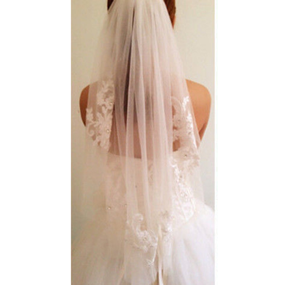 1pc Wedding Bridal White Single Layer Veil Lace Appliques And Rhinestone with Comb Women Accessories
