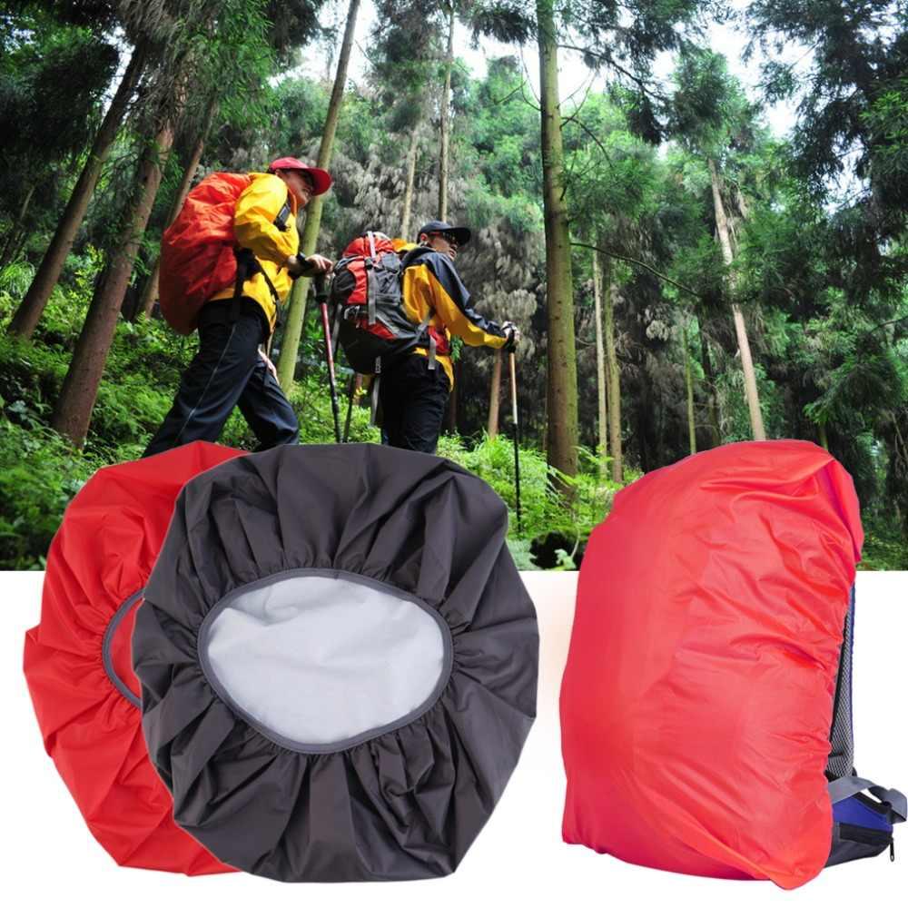 Merah/Hitam Nilon Tahan Air dan Tahan Debu Sangat Ringan & Adjustable Perjalanan Berkemah Ransel Pelindung Hujan Debu 30-40L