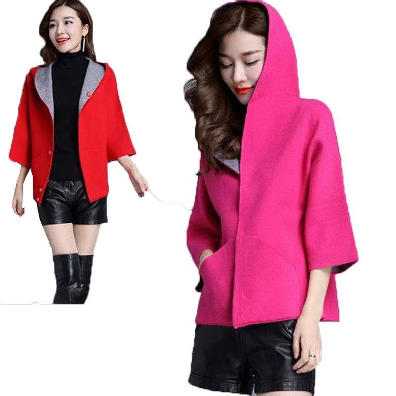 Grande taille à capuche court pull femmes Cardigan 2018 nouveau printemps automne manteau lâche femme laine manteau qualité noël chandail Z370