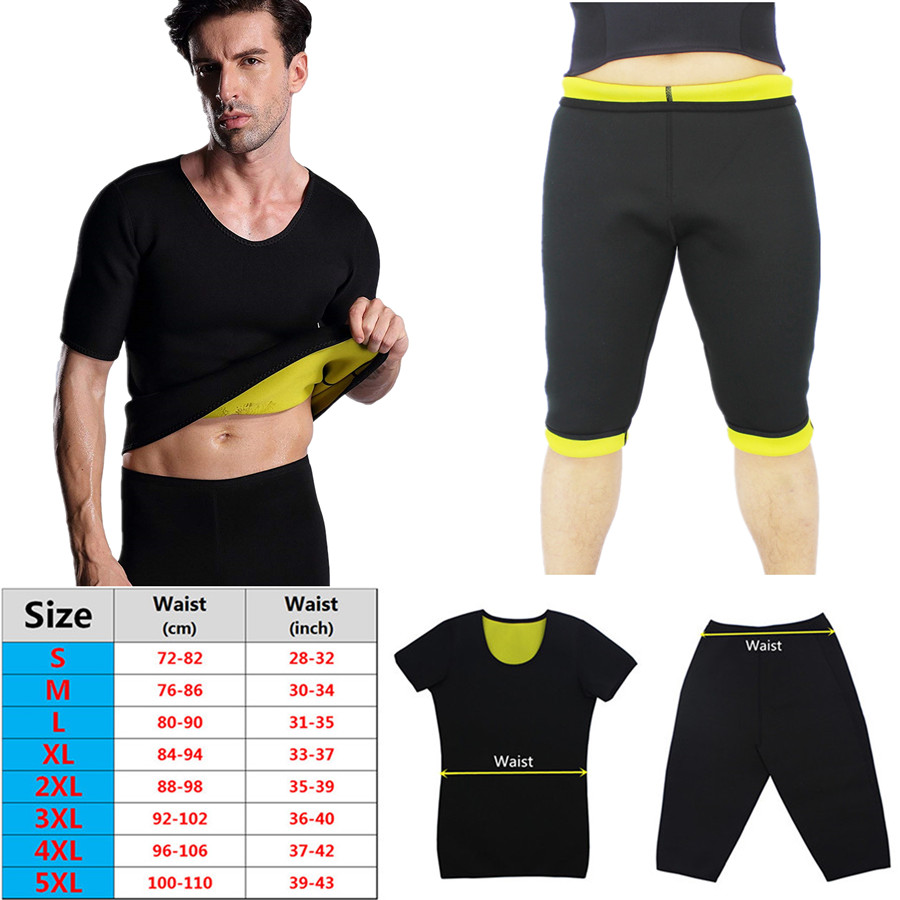 Men Slimming Shorts Pants Short Sleeve Set Body Shapers T Shirt Thermo Neoprene Sauna Sweat Corset Control Panties Super Stretch in Shapers from Underwear Sleepwears