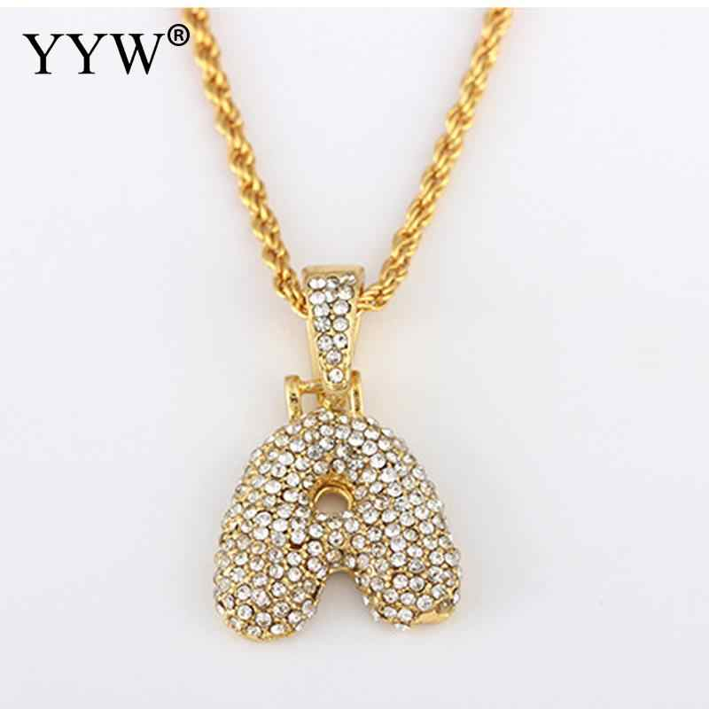 A-S Custom Name Bubble Initial Letter Necklaces & Pendant Charm For Cubic Zirconia Hip Hop Jewelry Drop Shipping
