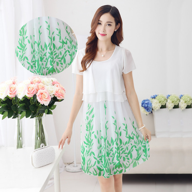 2016 versão coreana do novo verão moda mulheres grávidas chiffon longa seção de mulheres grávidas vestido de maternidade