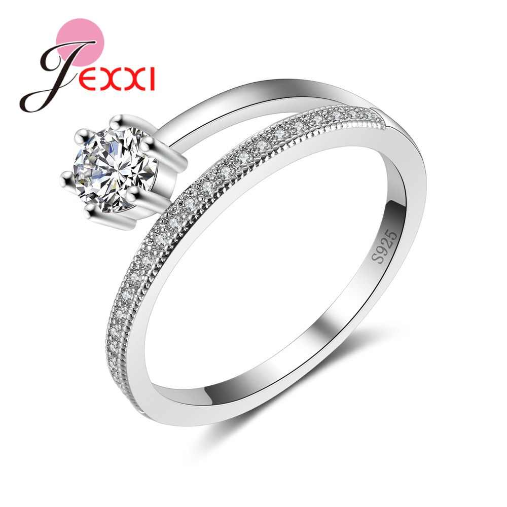 Latest Design Crystal Female Accessory Luxury 925 Sterling Silver Promise Rings For Women Girl Wedding Party Drop Shipping