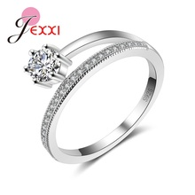 Купить с кэшбэком Latest Design Crystal Female Accessory Luxury 925 Sterling Silver Promise Rings For Women Girl Wedding Party Drop Shipping