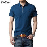 TFETTERS 2017 Hot Summer Men S T Shirt Cutting Design Solid Color Short Sleeve Turn Down