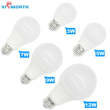 [VisWorth]High Brightness E27 A60 LED Bulb Lamps AC 220V-240V Light Real Power 3W 5W 7W 9W 12W Lampada SMD2835 SpotLighting