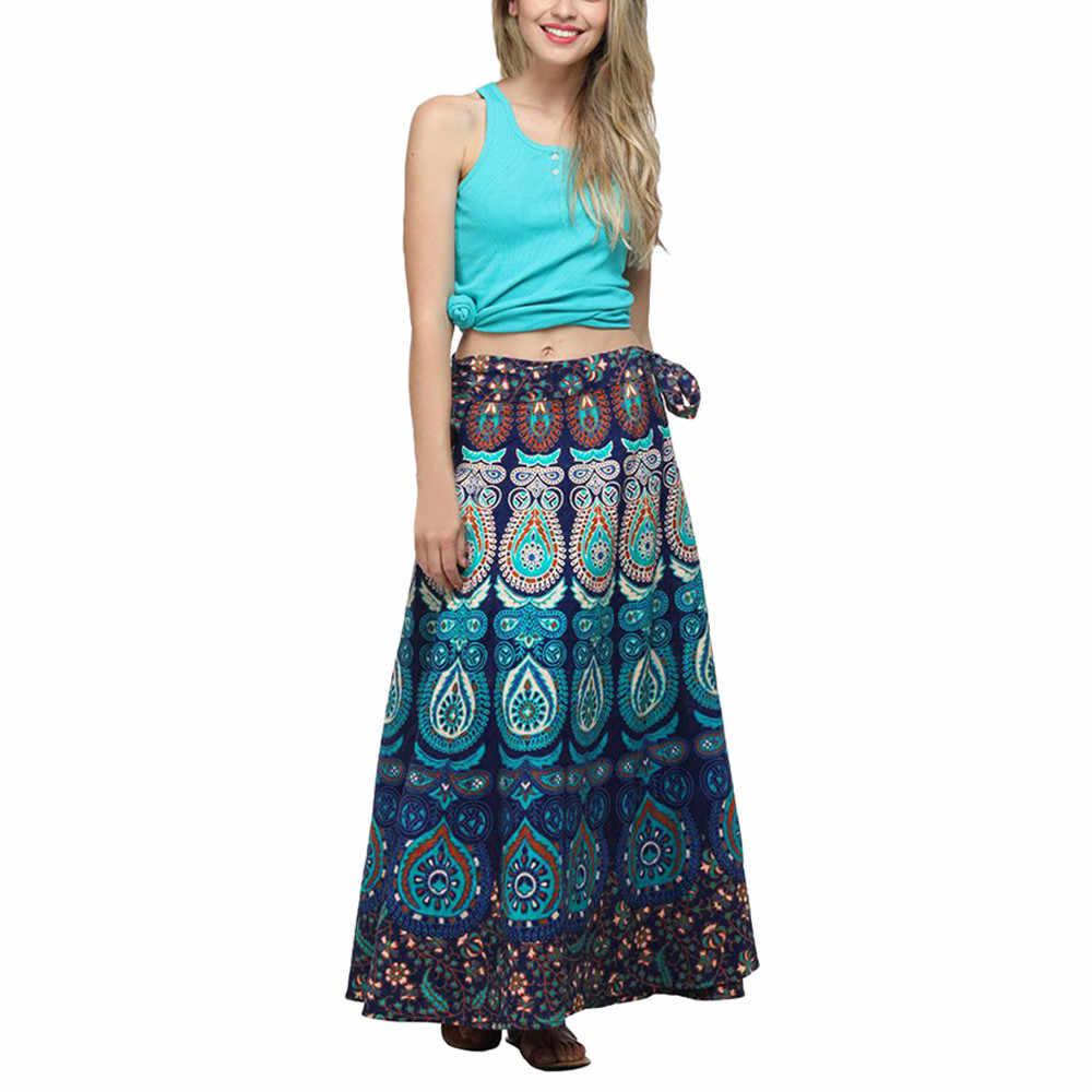 Las mujeres falda Bohemia señoras impresión de alta cintura cinturón Faldas  largas Mujer étnica Maxi falda e37cead42725