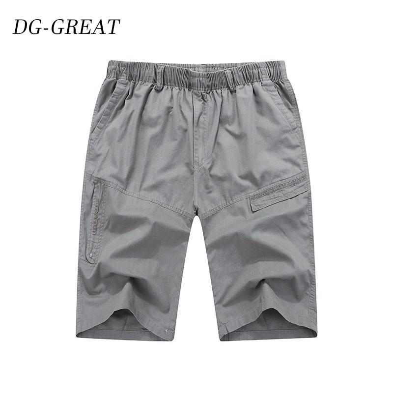 2019 Male Shorts Summer Loose Zipper Breeches Khaki Grey Plus Size Short Pant Casual Cotton  Long Mens Cargo Shorts