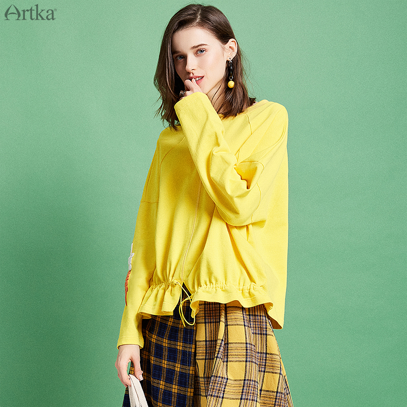 ARTKA 2019 Spring Women Hoodies Casual Loose Sweatshirt Fashion Letter Embroidery Round Neck Long Sleeve Short
