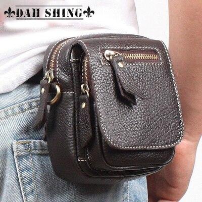 100% A Garanti Véritable en cuir hommes de casual mini messenger sac waist pack portable pouch sac à bandoulière fermeture à glissière 14*12 cm