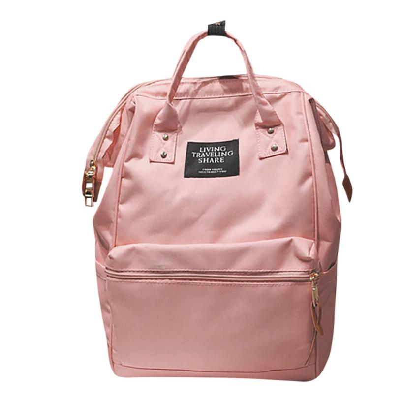 Unisex Solid Backpack School Travel Bag Double Shoulder Bag Zipper Bag School Bag for Teens Simple Style Travel Backpac