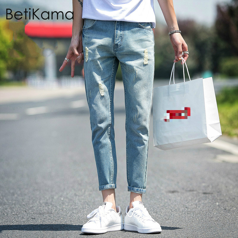 BetiKama 2018 Summer Jeans Men Fashion Plus Size Mid Waist Light Blue Denim Vintage Ankle Length Pants Ripped Jeans for Men