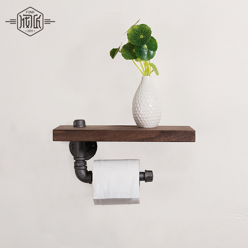 Industrial Iron Pipe Wall Mounted Toilet Paper Holder Kitchen Towel Rack Roll Paper Tissue Holder with Wood Shelf oil rubbed bronze square toilet paper holder wall mounted paper basket holder