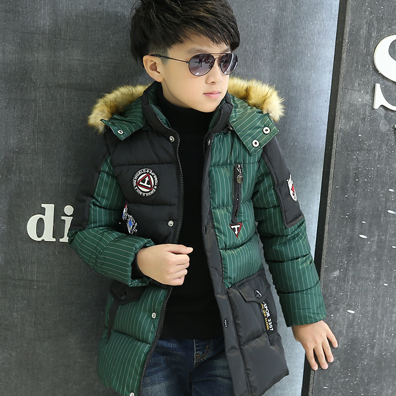 2017 New Kids Boys Winter Down Jackets Outerwear Coats Fashion Fur Collar Thick Warm Cotton Coat For 5-16T Children plus size winter women cotton coat new fashion hooded fur collar flocking thicker jackets loose fat mm warm outerwear okxgnz 800