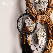 vintage mini dreamcatcher with skeleton car decor pendant indian dream catchers wind chimes halloween decoration gifts bw09939